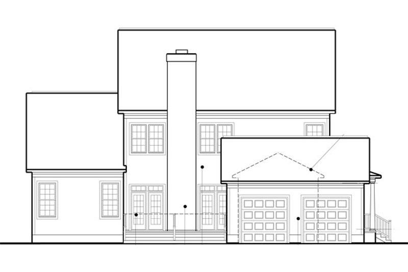 Colonial Exterior - Rear Elevation Plan #1053-56 - Houseplans.com