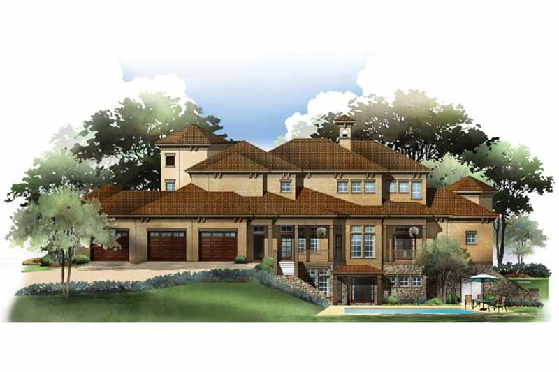 Mediterranean Exterior - Rear Elevation Plan #952-210 - Houseplans.com