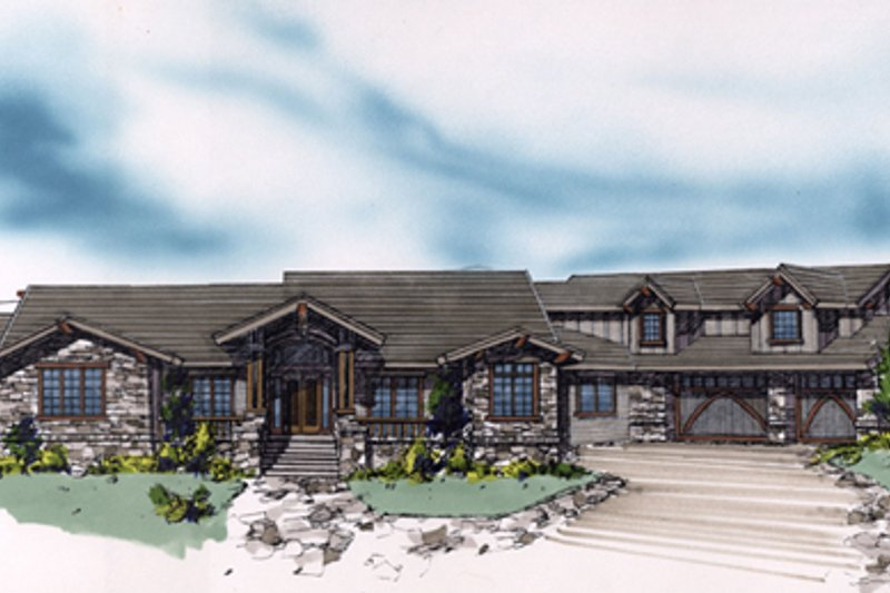 Craftsman Exterior - Front Elevation Plan #509-28