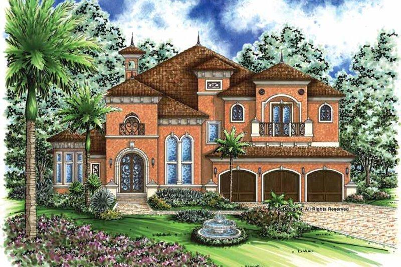 Dream House Plan - Mediterranean Exterior - Front Elevation Plan #1017-36