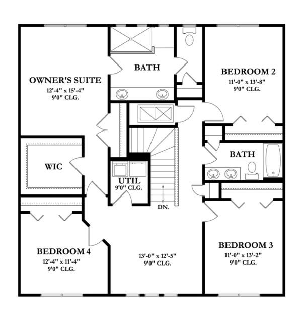 Mediterranean Floor Plan - Upper Floor Plan Plan #1058-62