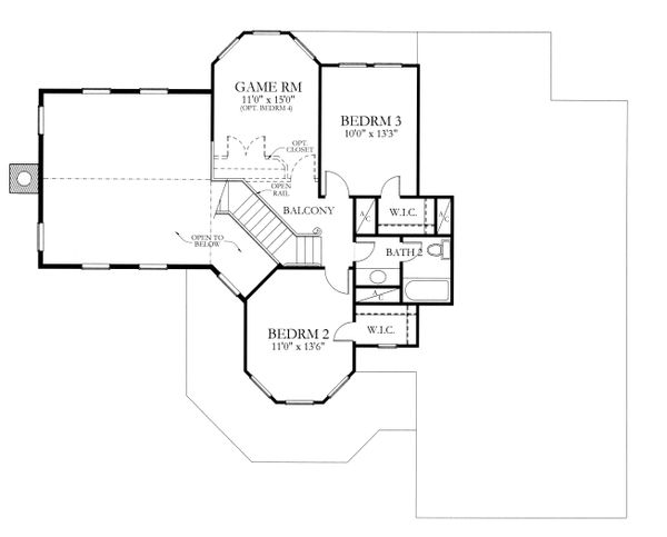 House Plan Design - Country Floor Plan - Upper Floor Plan #80-125