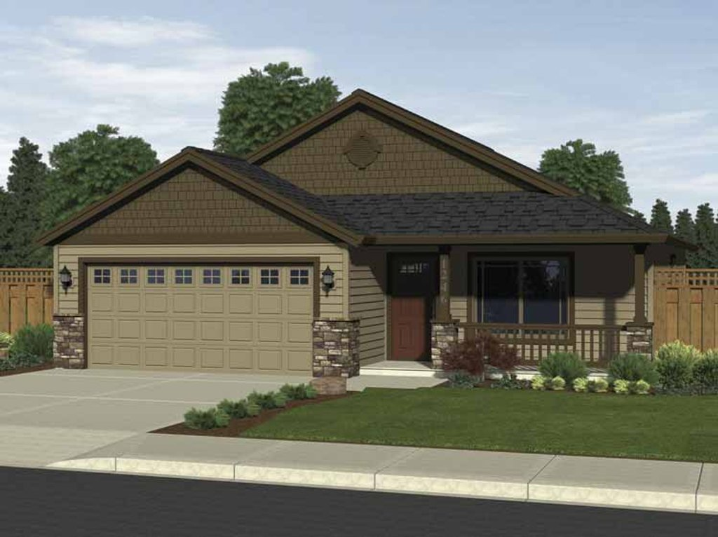 Craftsman style house plan 3 beds 2 baths 1246 sq ft for Craftsman vs mission style