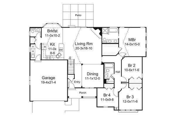 Dream House Plan - Country Floor Plan - Main Floor Plan #57-695