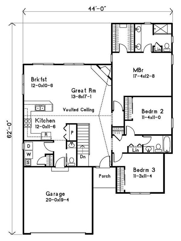 House Plan Design - Ranch Floor Plan - Main Floor Plan #22-579