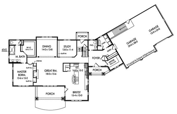 Traditional Floor Plan - Main Floor Plan Plan #1010-188