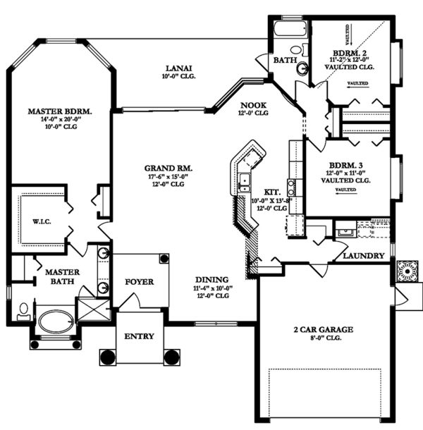 Mediterranean Floor Plan - Main Floor Plan Plan #1058-39
