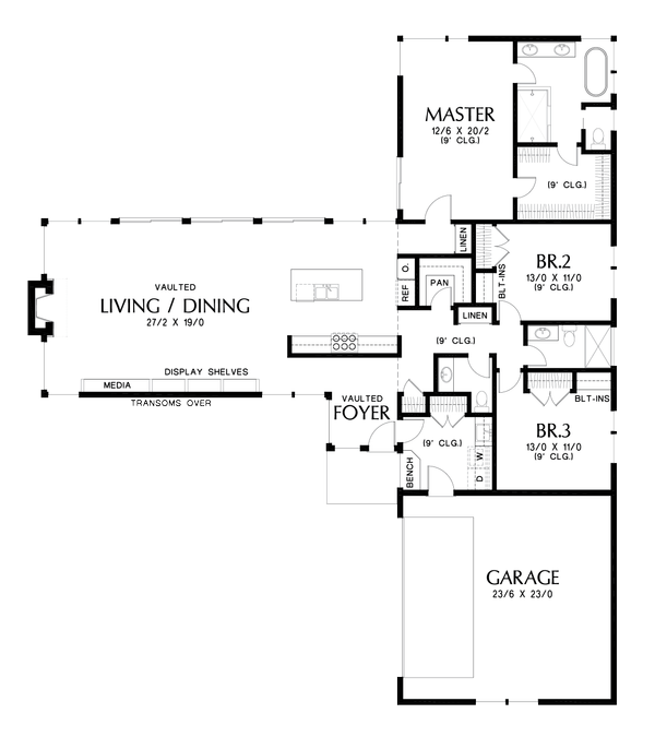 Contemporary Floor Plan - Main Floor Plan Plan #48-1001