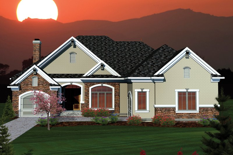 Ranch Exterior - Front Elevation Plan #70-1064