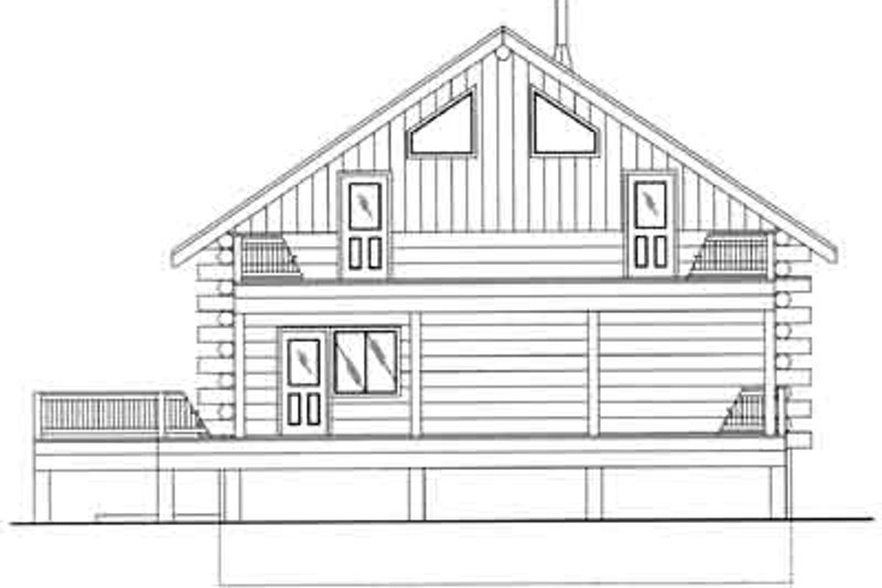 Log Exterior - Rear Elevation Plan #117-495 - Houseplans.com