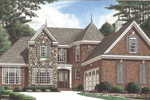 European Exterior - Front Elevation Plan #34-148