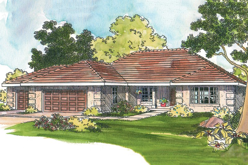 Mediterranean Exterior - Front Elevation Plan #124-540