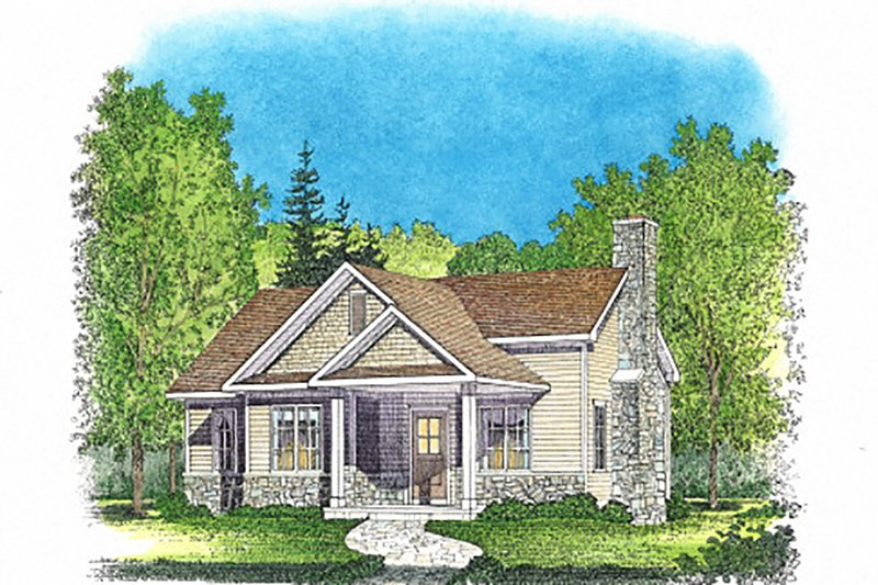Cottage Exterior - Front Elevation Plan #22-565