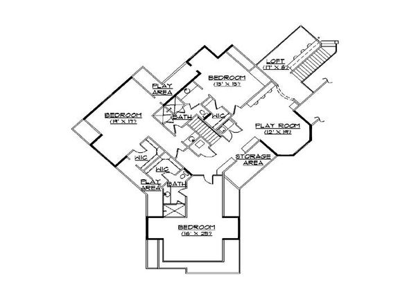 European Floor Plan - Upper Floor Plan Plan #5-449