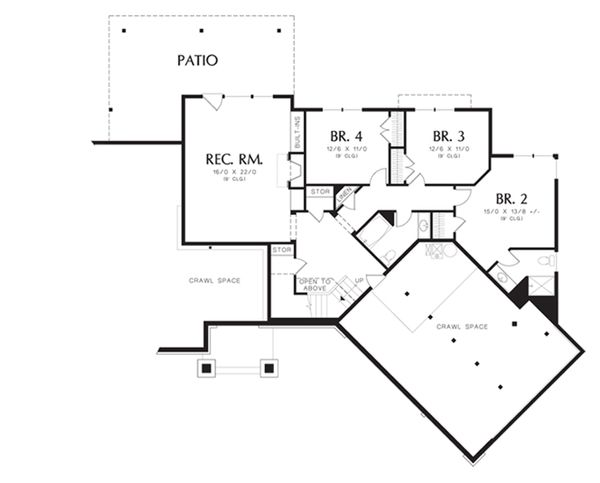 Craftsman Floor Plan - Lower Floor Plan Plan #48-462