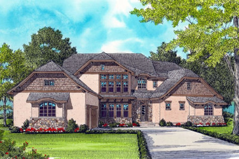 European Exterior - Front Elevation Plan #413-823