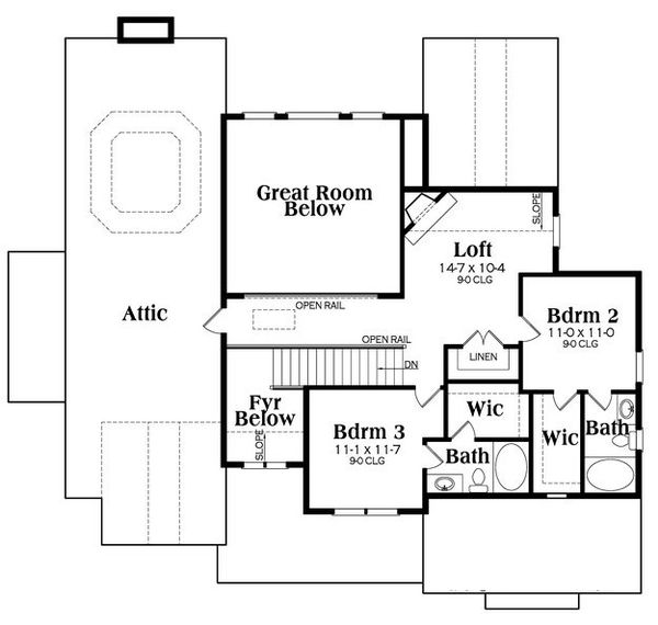 Craftsman Floor Plan - Upper Floor Plan Plan #419-259