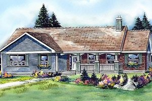 Architectural House Design - Ranch Exterior - Front Elevation Plan #427-9