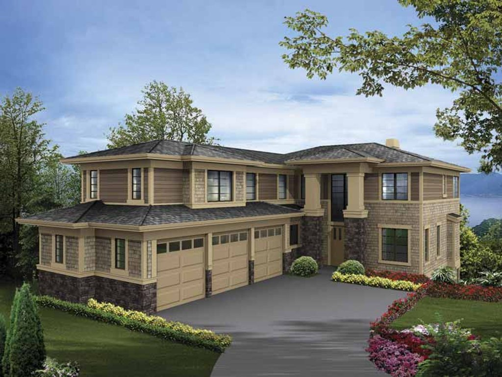 Prairie style house plan 5 beds 4 5 baths 4922 sq ft for 3 story 5 bedroom house plans