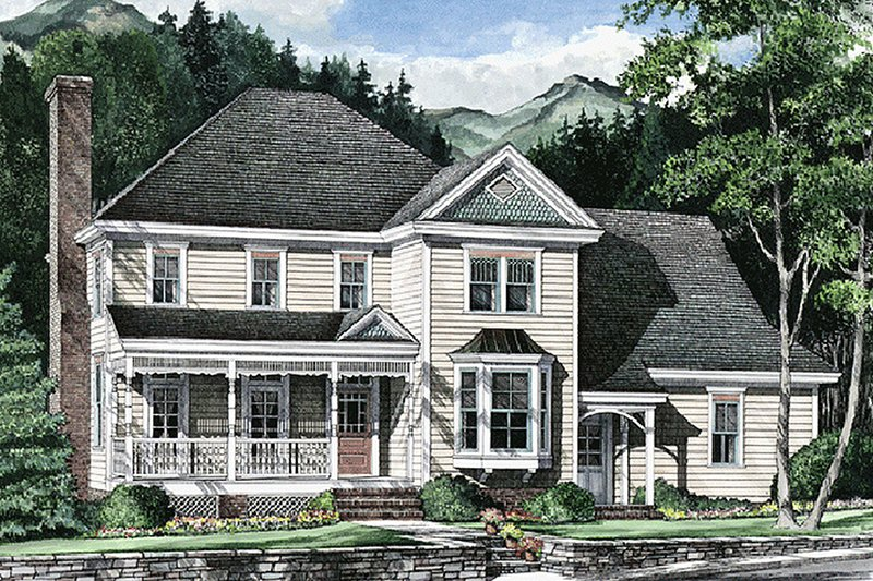Traditional Exterior - Front Elevation Plan #137-206 - Houseplans.com