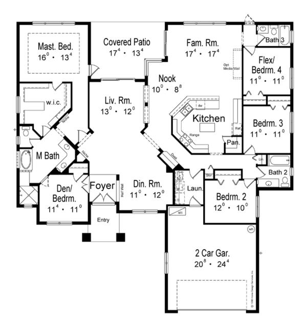 Architectural House Design - Mediterranean Floor Plan - Main Floor Plan #417-795