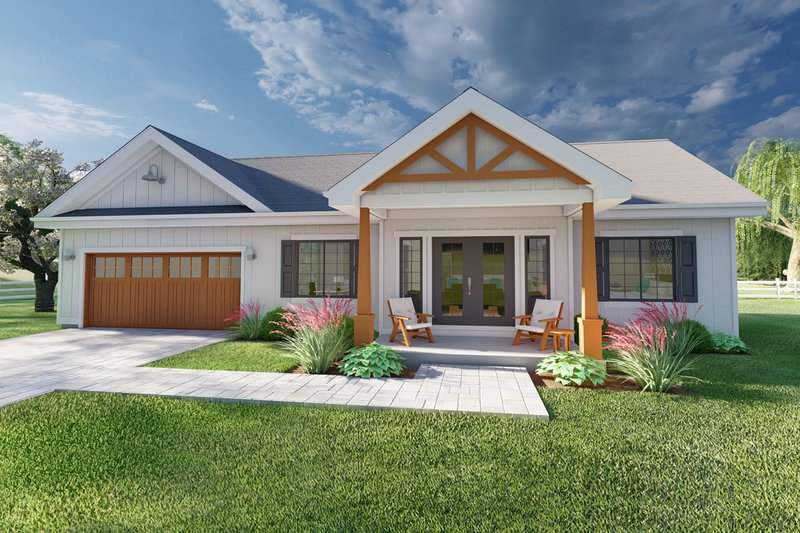 Farmhouse Style House Plan - 2 Beds 2 Baths 928 Sq/Ft Plan #126-175 Exterior - Front Elevation