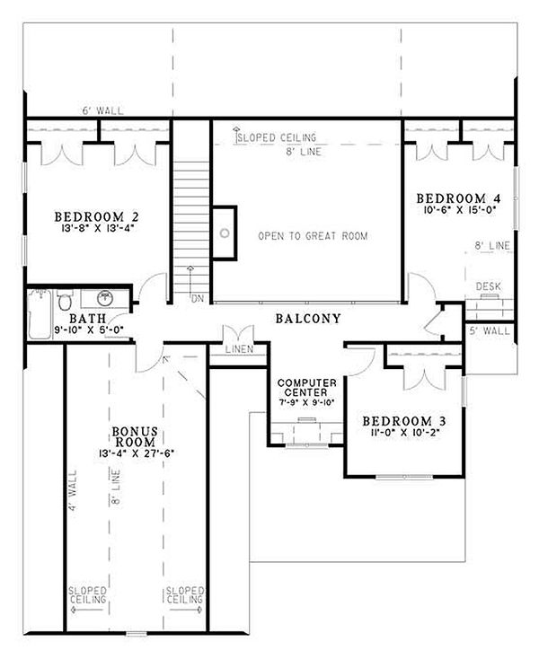 Traditional house plan with Craftsman floor plan