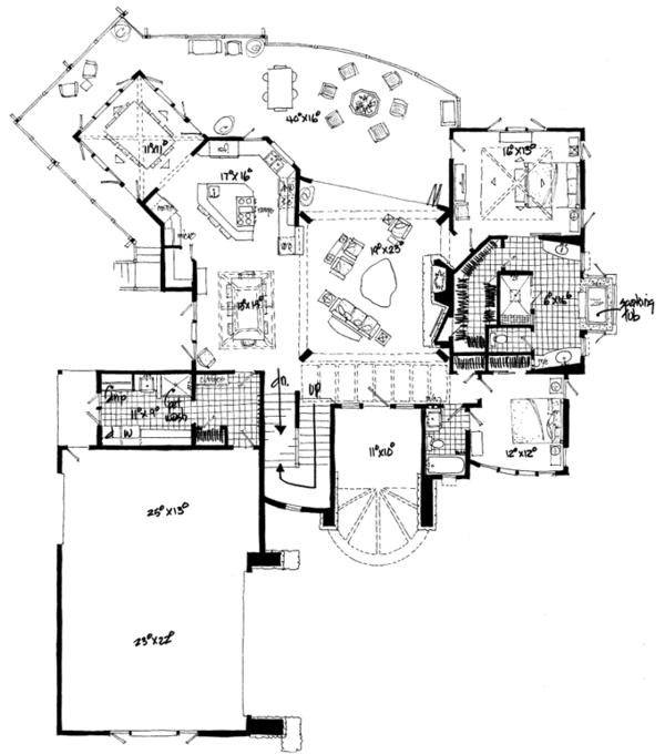Craftsman Floor Plan - Main Floor Plan Plan #942-11