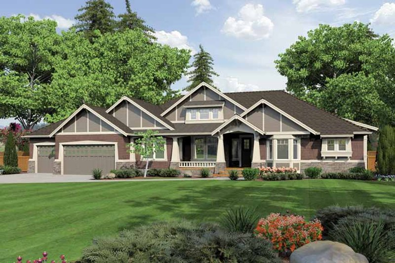 Ranch Exterior - Front Elevation Plan #132-553