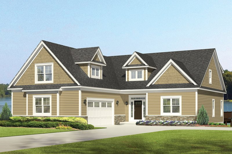 Colonial Exterior - Front Elevation Plan #1010-109