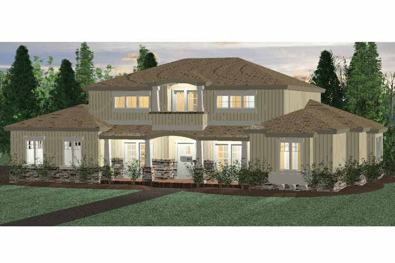 Architectural House Design - Prairie Exterior - Front Elevation Plan #937-30