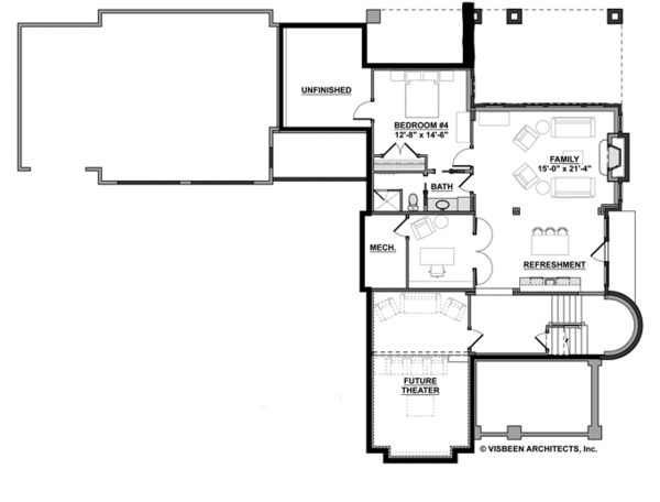 Architectural House Design - Traditional Floor Plan - Lower Floor Plan #928-271