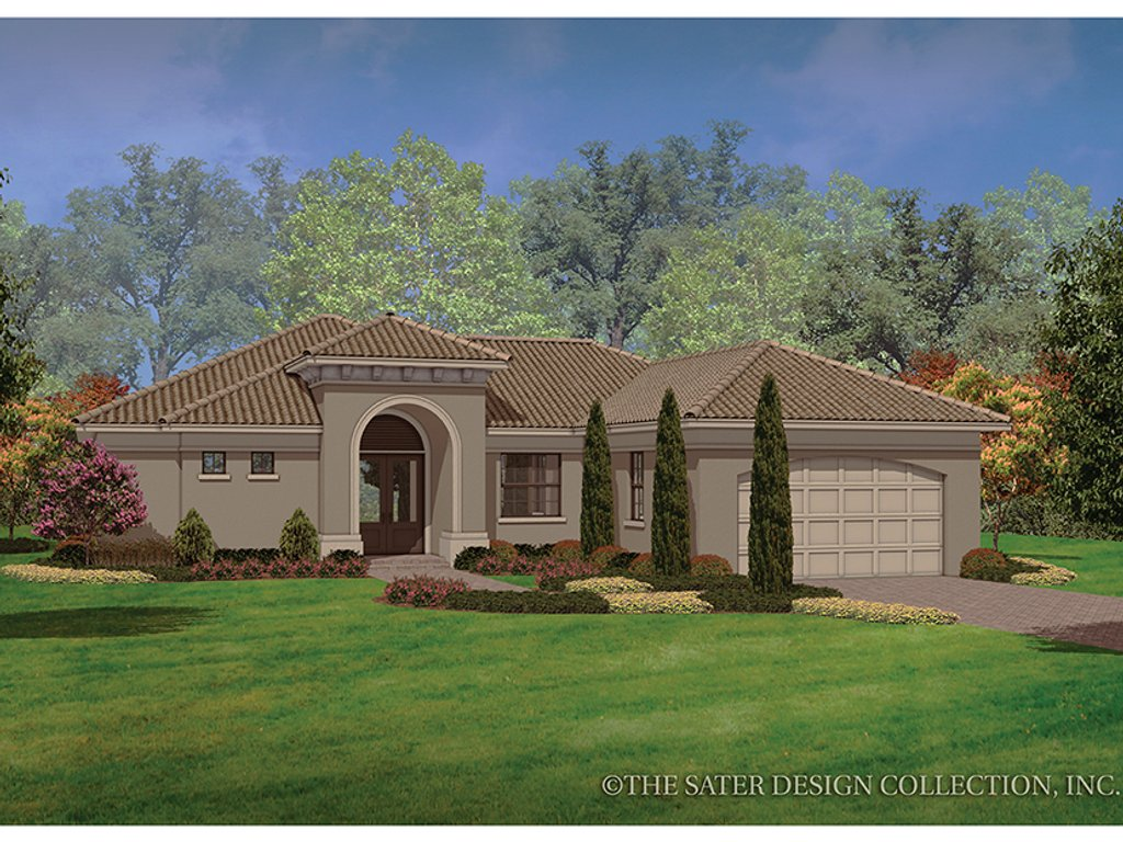 The Sater Design Collection mediterranean style house plan - 3 beds 2 baths 1808 sq/ft plan #930-452