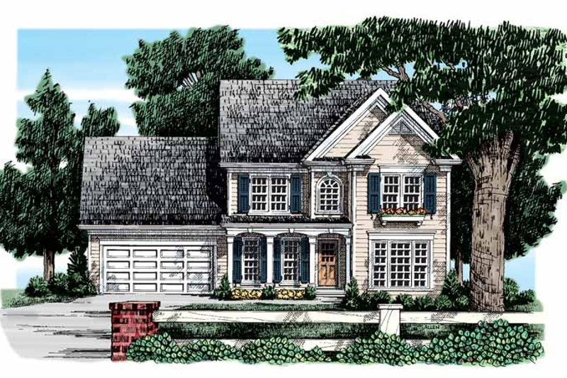 Colonial Exterior - Front Elevation Plan #927-45