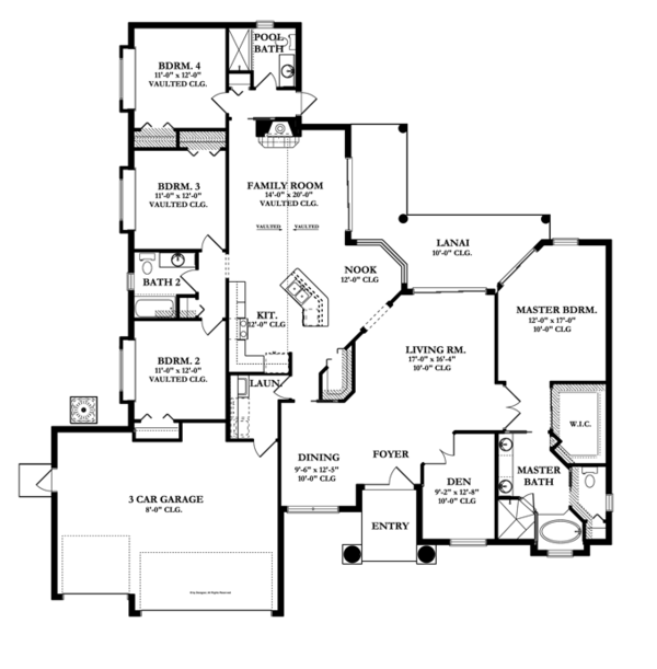Mediterranean Floor Plan - Main Floor Plan Plan #1058-44