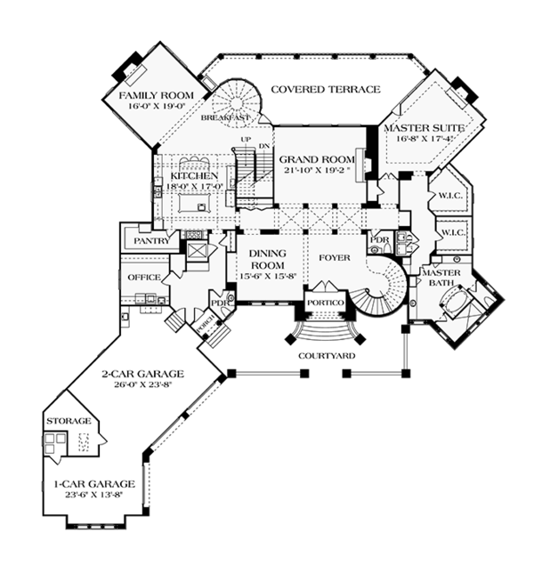 House Plan Design - Mediterranean Floor Plan - Main Floor Plan #453-617