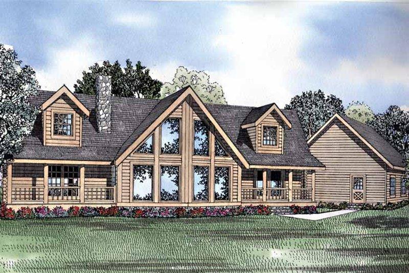 Log Exterior - Front Elevation Plan #17-3123 - Houseplans.com