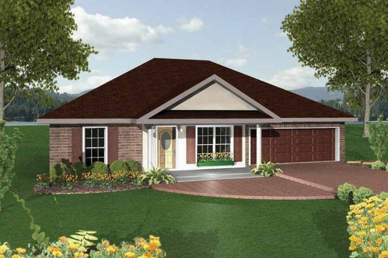 Ranch Exterior - Front Elevation Plan #44-206 - Houseplans.com
