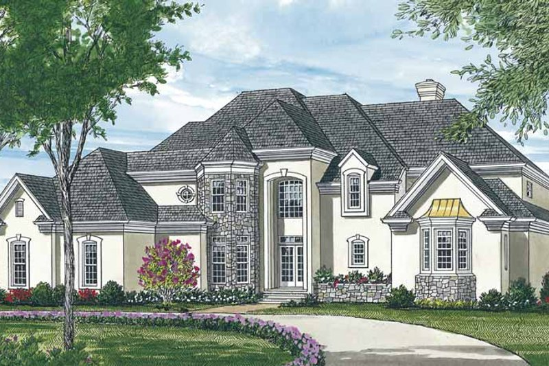 European Exterior - Front Elevation Plan #453-146 - Houseplans.com