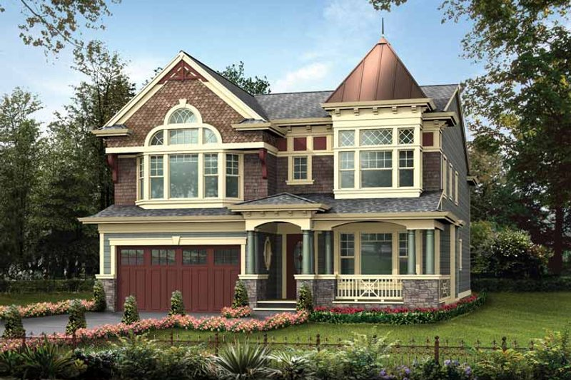 Victorian Exterior - Front Elevation Plan #132-473