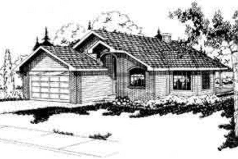 Ranch Exterior - Front Elevation Plan #124-116