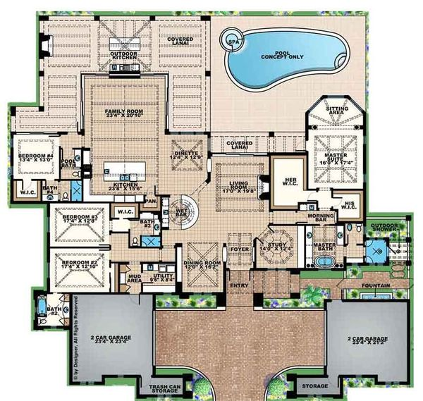 House Design - Mediterranean Floor Plan - Main Floor Plan #1017-158