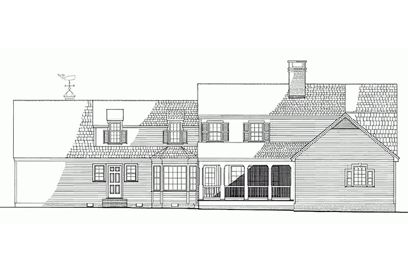 Colonial Exterior - Rear Elevation Plan #137-193 - Houseplans.com