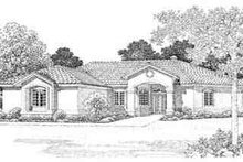 House Blueprint - Adobe / Southwestern Exterior - Front Elevation Plan #72-221