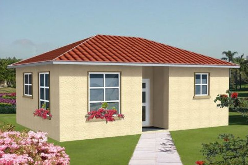 Mediterranean Style House Plan - 1 Beds 1 Baths 437 Sq/Ft Plan #1-105 Exterior - Front Elevation