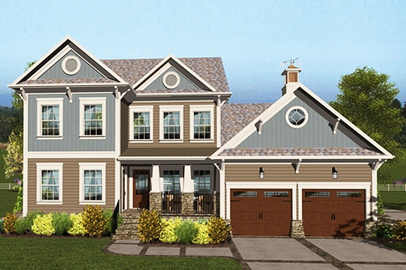 Craftsman Style House Plan - 4 Beds 3 Baths 2659 Sq/Ft Plan #56-707 Exterior - Front Elevation