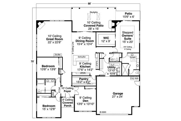Dream House Plan - Prairie Floor Plan - Main Floor Plan #124-1214