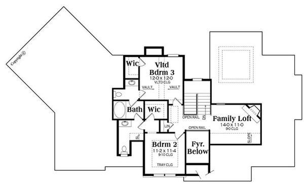 European Floor Plan - Upper Floor Plan Plan #419-305
