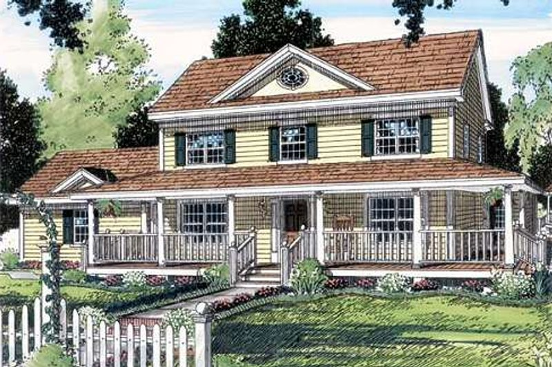 Country Style House Plan - 4 Beds 3 Baths 2269 Sq/Ft Plan #312-154 Exterior - Front Elevation