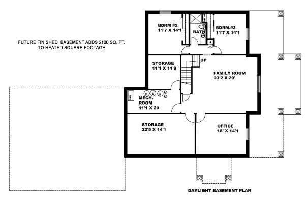 Craftsman Floor Plan - Lower Floor Plan Plan #117-883